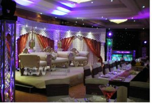 colour lighting wedding event. Mandap Hire